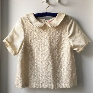 Manoush embroidered lace Peter Pan collar shirt